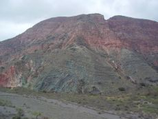 fault contact between two differently-colored sedimentary formations, Andes 2005